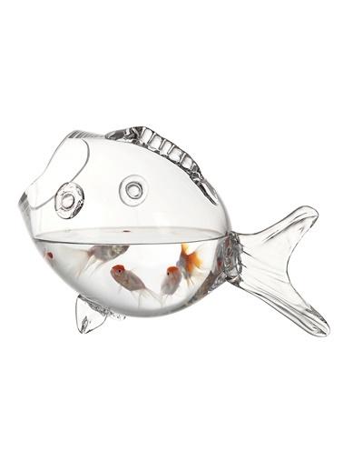Warm Design Balık Formunda Cam Fanus Renksiz